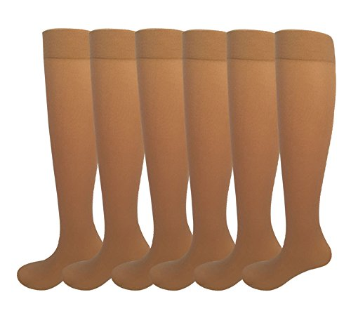 Natural Knee High (6 Pairs Women's Opaque Spandex Trouser Knee High Socks Queen Size 9-11-beige)