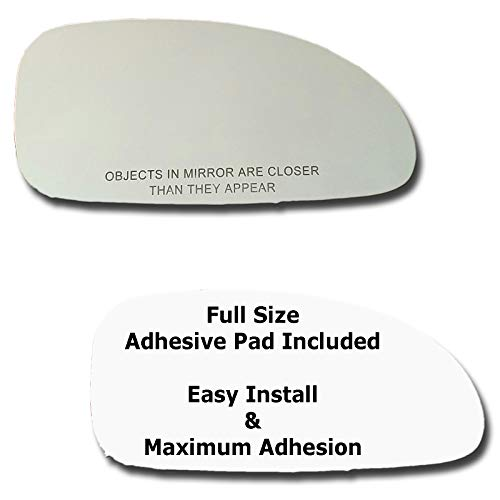 Mirror Glass + Full Size Adhesive Pad for 2000-2005 Buick LeSabre Passenger Side Replacement ()