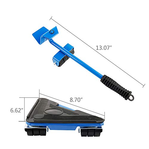 Easy Room Rearrange, Blue Heavy Duty Iron Easy Moving 660lb Heavy Furniture Lifter 4 Slide Gliders Rotating Shift Lifting Moving Wheel by goodyusstore (Image #5)
