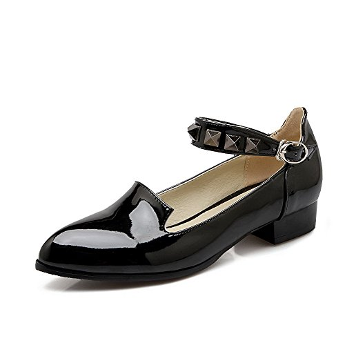 Leather Heels Toe WeenFashion Solid Closed Pumps Black Buckle Patent Low Women's Shoes Pointed Cqnw0XS