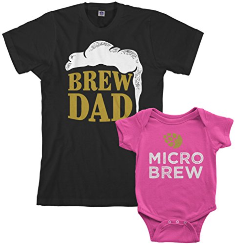Threadrock Brew Dad & Micro Brew Infant Bodysuit & Men's T-Shirt Matching Set (Baby: 12M, Hot Pink|Men's: XL, Black)]()