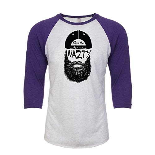 (Fanbuild Fear The Chuck Nazty Triblend 3/4 Sleeve Shirt (Large, Purple))