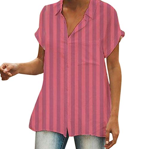 Tantisy ♣↭♣ Womens Waffle Knit Tunic Blouse Short Sleeve V Neck Button-Down Henley Shirts Striped Plain Daily Casual Top Red ()