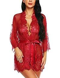 acff2c5120 Women s Lace Kimono Robe Lingerie Eyelash Babydoll Sheer Nightwear