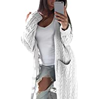 Minisoya Women Bohemia Maxi Cardigan Ladies Pockets Long Sleeve Knit Cable Sweater Jacket Coat Outwear Long Overcoat