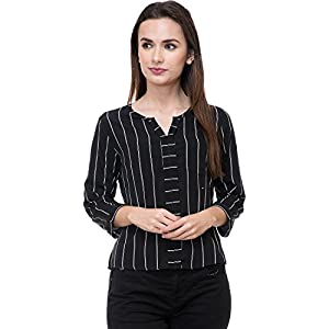 Deewa Black & White Polycrepe Round Neck Casual Tops for Women