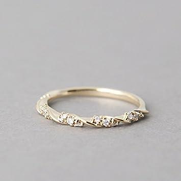 Anillo trenzado de oro de 14 quilates, anillo de compromiso, anillos de boda, anillo moderno para mujer. 7 plata: Amazon.es: Hogar