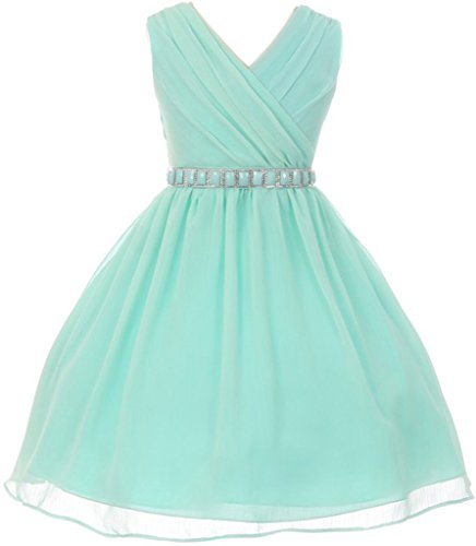 Big Girl Chiffon Cross-Body Style Flower Girl Dress Mint 8 MBK 371