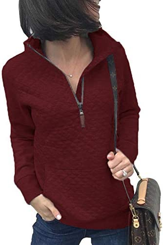Besshopie Pullover Sweatshirts with Pockets Women 1/4 Zip up Hoodie Fashion Pullover Tops