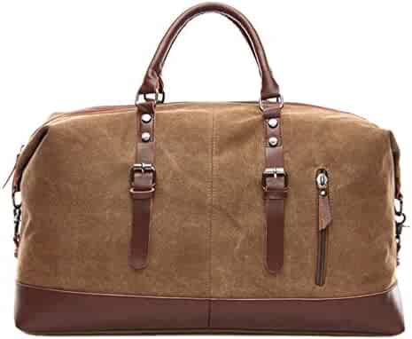 Travel Duffel Bag Canvas Bag PU Leather Weekend Overnight Bag (Large-Coffee) 769ab6d454207