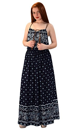 Peach Couture Womens Summer Exotic Floral Bohemian Tahiti Sleeveless Maxi Dress Tie Neck Navy Blue Large