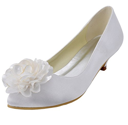 Minishion MZ603 Womens Low Heel Flower Bridal Wedding Party Satin Evening Prom Satin Party Pump Shoes B073TTMF2B Shoes 4c0142