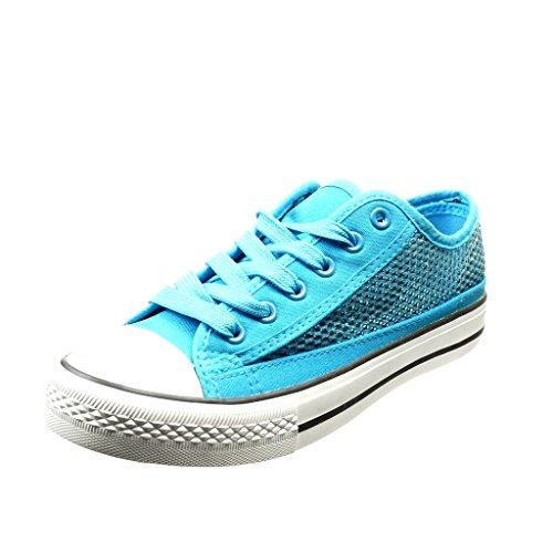 Angkorly Damen Schuhe Sneaker - Fischnetz Schuh - Glitzer Flache Ferse 2.5 cm Blau