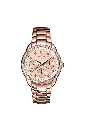 Bulova 98R178 Ladies Diamond Rose Gold Chronogragph Watch