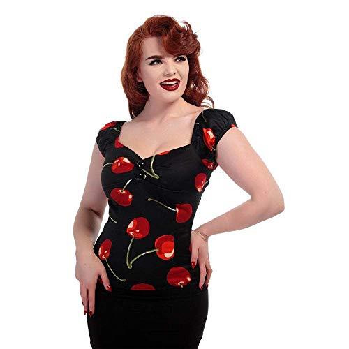 Cotton Sateen Pencil Skirt - Collectif Retro Cherry Stem 1950s Dolores Top