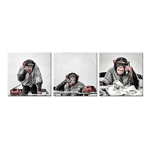 iHAPPYWALL Hello Artwork - 3 Piece Canvas Print Wall Art Funny Ape Chimpanzee On The Phone at The Desk Modern Pop Animal Canvas Painting Framed for Living Room Home Decoration ()
