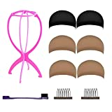 #5: ZUER Wig Caps (6 Pack/Black & Neutral Nude Beige) with Portable Wig Stand, Gentle Edges Brush and Wig Combs