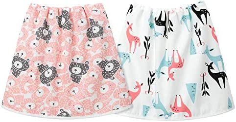 2 Packs Waterproof Cotton Training Pants Comfy Children's Diaper Skirt Shorts for Potty Training for Boys and Girls Night Time Pink(4-8T)