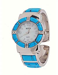 Turquoise Watch Cuff Inlay Style with Crystal Accents