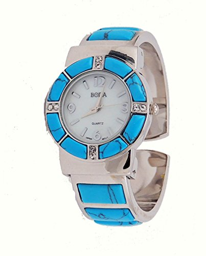 Bora Turquoise Watch Cuff Inlay Style with Crystal Accents