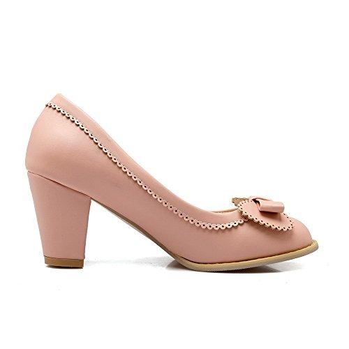 AllhqFashion Damen Hoher Absatz Rein Rund Zehe Ziehen auf Stiefel, Pink, 36