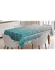 ABAKUHAUS Rústico Mantele, Paneles de Madera Digital, Resistente al Agua Lavable Colores No Destiñen Personalizado, 140 x 200 cm, Azul pálido Gris