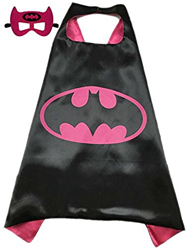 Superhero Halloween Party Cape and Mask Set for Kids Batgirl (70s Cop Costume)