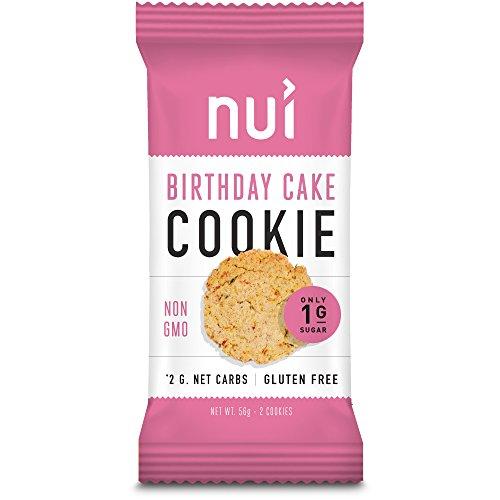 - Nui Birthday Cake Cookies - Keto Snacks, Low Carb, Low Sugar, 2g Net Carbs, Gluten Free - 8 Pack (16 cookies)