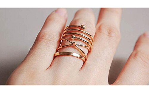 (HUAMING 6Pcs Bohemian Rings Gold Stack Above Knuckle Nail Ring Hip Hop Vintage Design for Jewelry Women Girls (Gold))