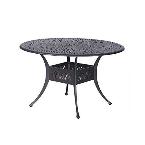 Patio Athens 48'' Round Dining Table, Aluminum Frame, Best Modern Patio Furniture 48' Round Cast Table
