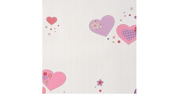 morados y rosas Caselio 61955280 Papel pintado con dise/ño infantil Patchwork en fondo blanco y corazones en tonos rojos