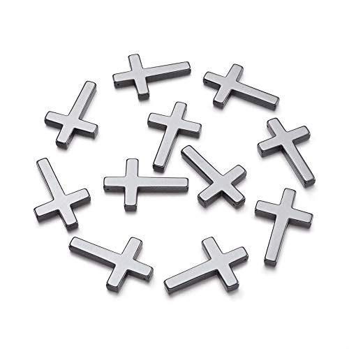Beadthoven 20pcs Non-Magnetic Synthetic Hematite Cross Pendants Crucifix Charms for DIY Crafts Projects Jewelry Making Findings fit Handmade Necklace Bracelet Earrings Choker 23x35x4mm