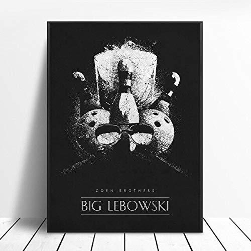 shuimanjinshan Gran Lebowski Blanco Y Negro Pelicula Clasica Arte Seda Poster Impresiones Decoracion De La Pared del Hogar Pintura Sin Marco 50X70Cm No Frame W-1