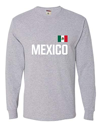 Go All Out Large Athletic Heather Adult Mexico Soccer Futbol Jersey Style Long Sleeve T-Shirt