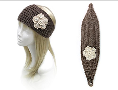 Rosemarie Collections Women's Knit Winter Headband With Floral Embroidery (Brown)