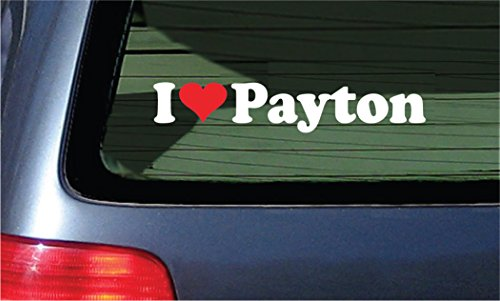 I Love Payton Vinyl Decal - White with A Red Heart Sticker