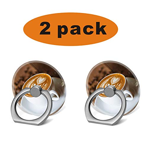 ((2 Pack) The Grip Ring Holder 360 Degrees Rotation Stand Works for All Smartphone and Tablets-Cute Coffee Latte)