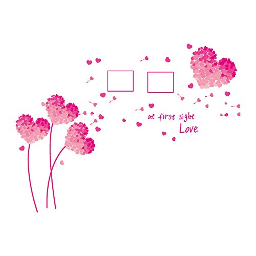 decalmile Romantic Pink Heart Shaped Flowers Photo Frame Wall Decals Home Decor Living Room Bedroom Wall Decoration