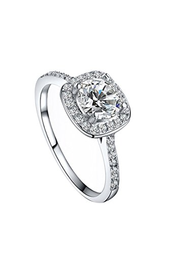 SODIAL(R) Women's Crystal Engagement Wedding Jewelry Ring Silver(6)