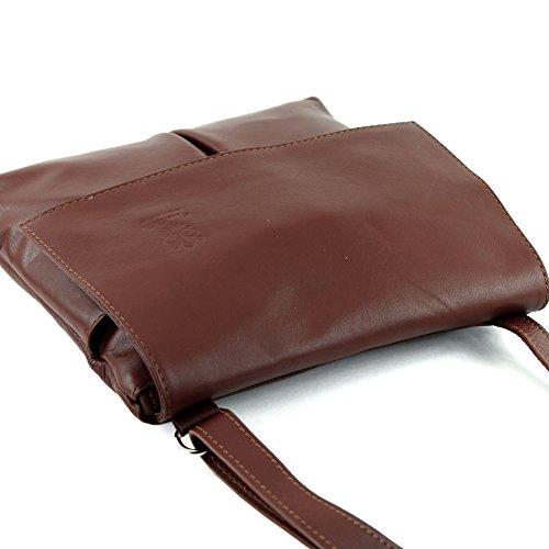 Farbe bandoulière de brown Nappa Farbe à en Sac T63 modamoda Präzise Umhänge cuir nur Ital CPXqnwA