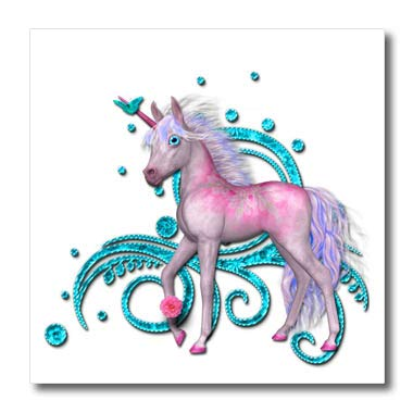 3dRose SpiritualAwakenings Unicorns - Soft Pastel Pink Unicorn and Bright Aqua Accented Scroll Back - 8x8 Iron on Heat Transfer for White Material (ht_317036_1)