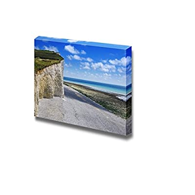 Canvas Prints Wall Art - Road by White Cliffs Under Blue Sunny Sky and Clear Sea | Modern Wall Decor/Home Art Stretched Gallery Canvas Wraps Giclee Print & Ready to Hang - 24