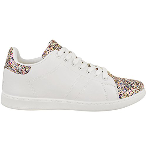 White Glitter Fashion Womens Size Glitter Flat Thirsty Up Faux Multicolour Shoes Sneakers Trainers Leather Plimpsolls Lace qPPpwtxH