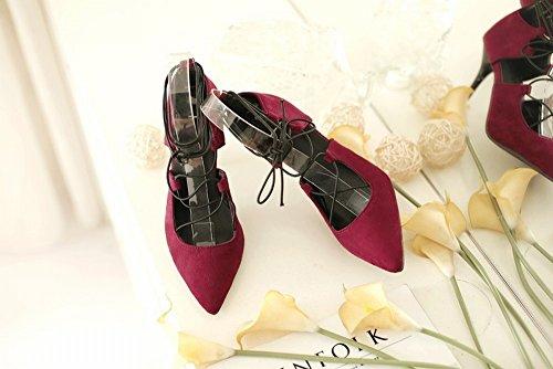 Las Mujeres con Cordones 'Puntiagudo Señaló Zapatos de Tacón Alto de Gran Tamaño 40-47 Yardas Código Pequeño 32-33 Yardas 8-22,Rojo,37