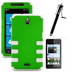 Cerhinu MINITURTLE 2 in 1 Hybrid High Impact Rib Cage Hard Phone Case Cover, Clear LCD Screen Protector Film, and Capacitive...
