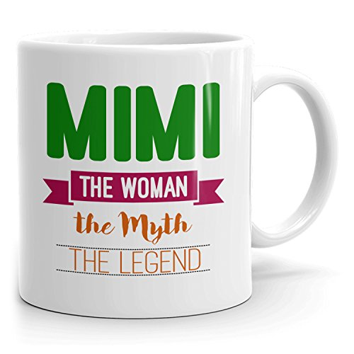 Personalized Mimi Mug - The Woman The Myth The Legend - Gifts for Women, Wife, Mom, Girlfriend - 11oz White Mug - Green