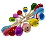 AITIME 10 Pieces Wooden Maracas Percussion Rattle Shaker Sand Hammer Musical Instrument Educational Toys for Kids,Random Pattern Color