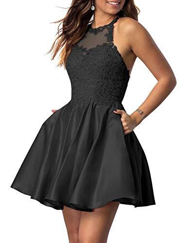 Halter Applique - NaXY Juniors Halter Sleeveless Applique Beaded Short Homecoming Dresses with Pockets Black