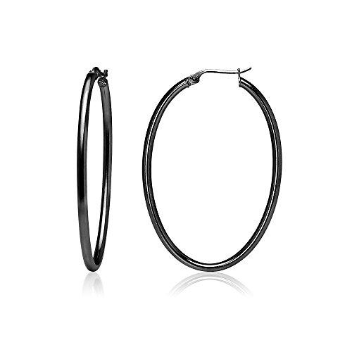 Black Flashed Sterling Silver 2mm Oval Hoop Earrings, 30mm