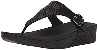 FitFlop Womens The Skinny Toe-Thong Snake Embossed Sandals, Black, 5 US